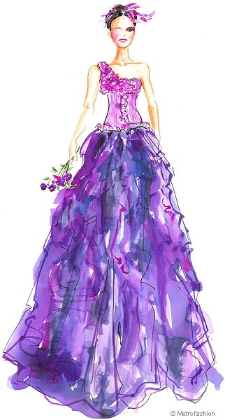 Metrofashion fashion sketches catwalk illustation evening gowns runway dresses 2006 2005 2004 2003 2002 2001 2000